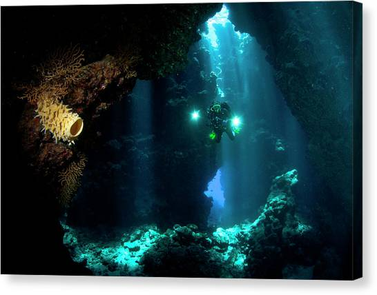 Underwater Caves Canvas Print - The Explorer by Csaba Tokolyi