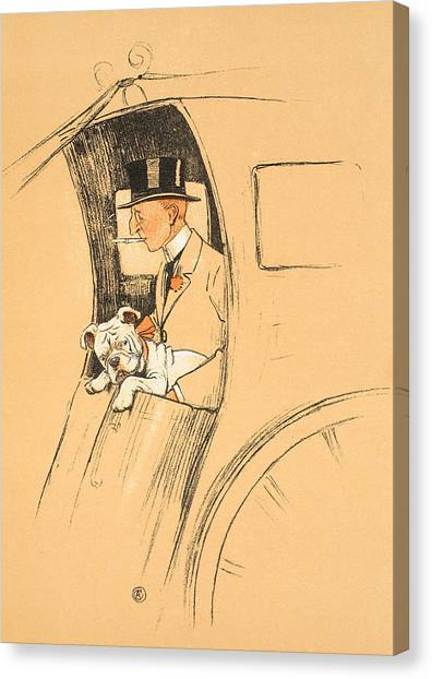 English Bull Dogs Canvas Print - The Extra Passenger by Cecil Charles Windsor Aldin