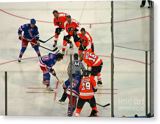 Philadelphia Flyers Canvas Print - The Faceoff by David Rucker