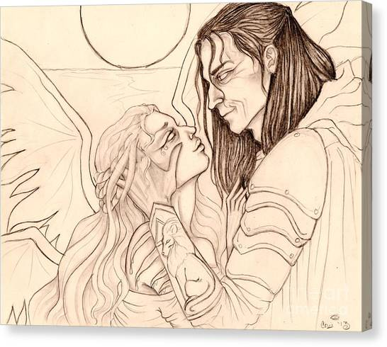 The Faery Maiden And The Knight Sketch Canvas Print by Coriander  Shea