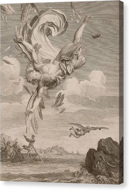 Tumbling Canvas Print - The Fall Of Icarus, 1731 by Bernard Picart