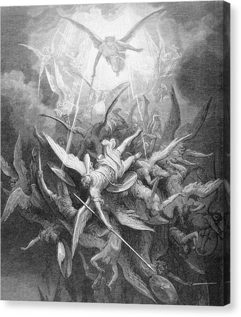 Angel Falls Canvas Print - The Fall Of The Rebel Angels by Gustave Dore