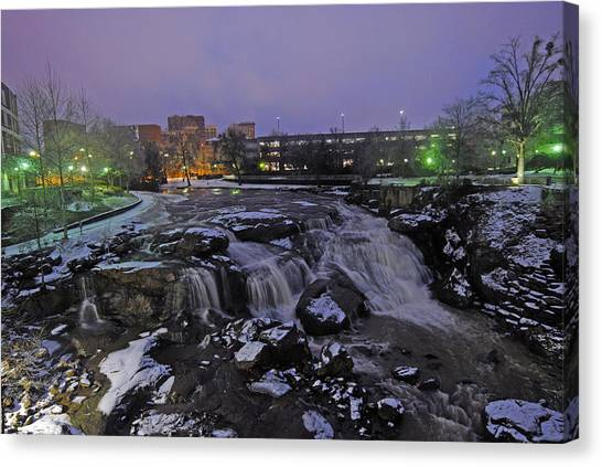 The Falls In Downtown Greenville Sc After A Light Snow Fall Canvas Print by Willie Harper