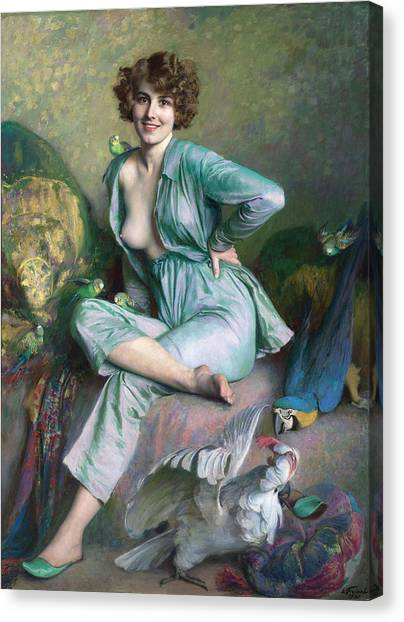 Canvas Print featuring the painting The Familiar Birds by Emile Friant
