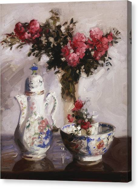 Coffee Plant Canvas Print - The Famille Rose Coffee Pot by Francis Campbell Boileau Cadell