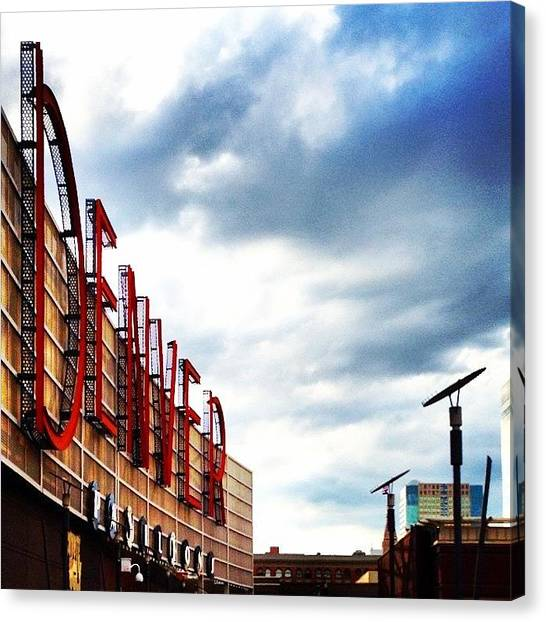 Skylines Canvas Print - The Famous Denverwoodland Sign by Nate Ragolia