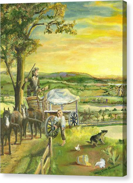 The Farm Boy And The Roads That Connect Us Canvas Print