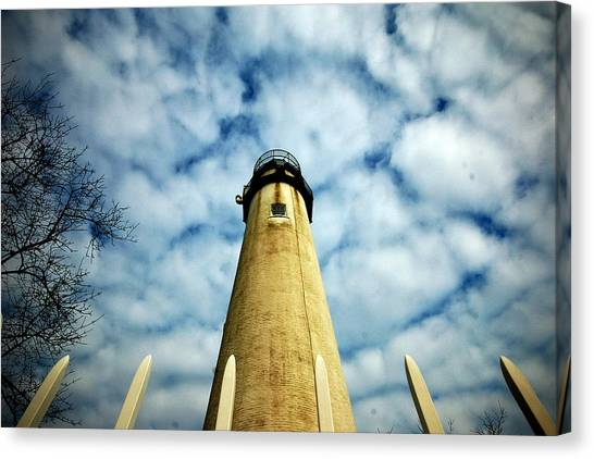 The Fenwick Light And A Mackerel Sky Canvas Print