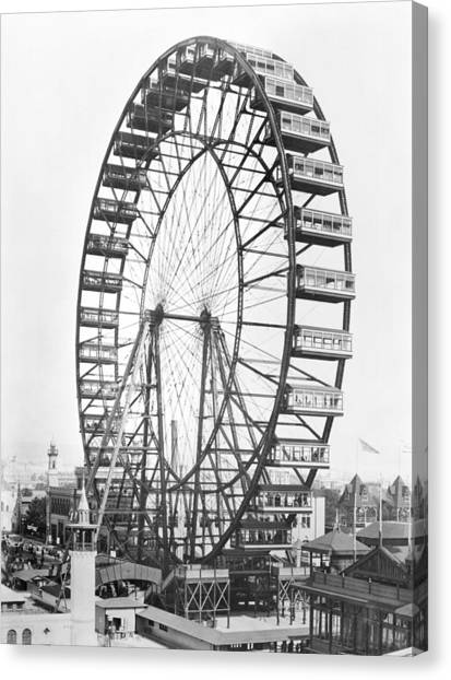 Wheels Canvas Print - The Ferris Wheel At The Worlds Columbian Exposition Of 1893 In Chicago Bw Photo by American Photographer