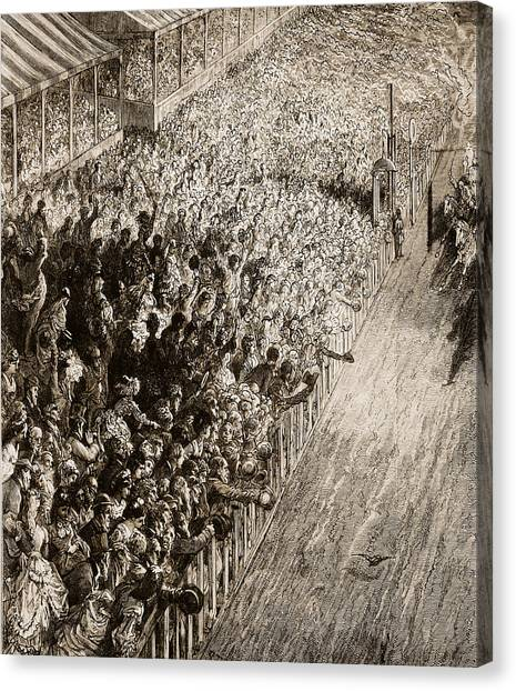 Finish Line Canvas Print - The Finishing Line Of The Derby by Gustave Dore