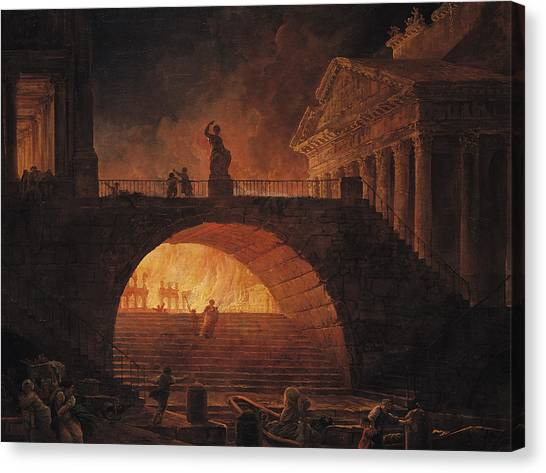 The Forum Canvas Print - The Fire Of Rome by Hubert Robert