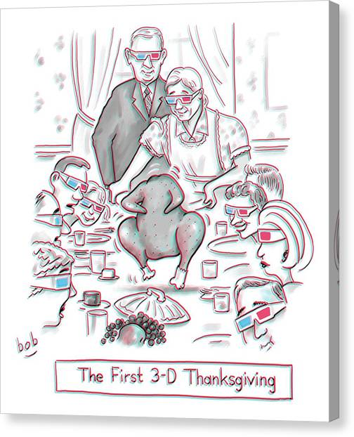 Thanksgiving Canvas Print - The First 3-d Thanksgiving.  A Turkey Is Dancing by Bob Eckstein