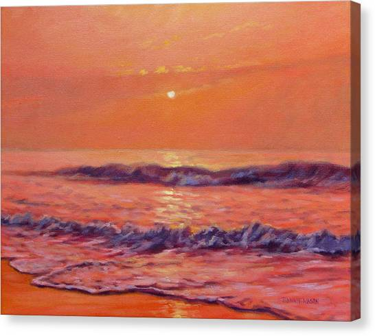 Beach Sunrises Canvas Print - The First Day-sunrise On The Beach by Bonnie Mason