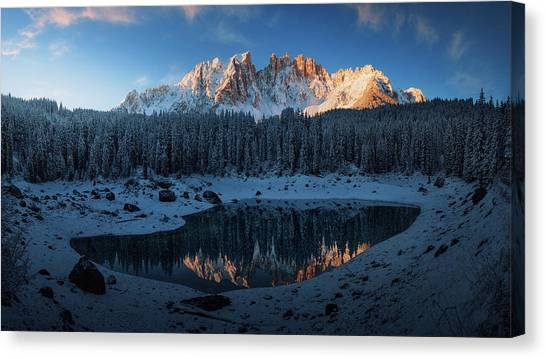 Fir Trees Canvas Print - The First Morning 3. by Juan Pablo De