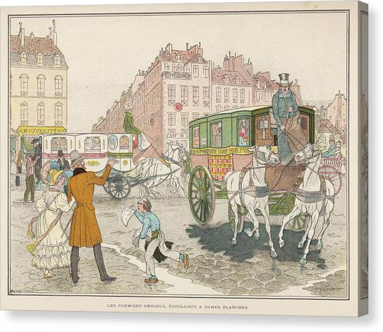 Ply Canvas Print - The First Omnibuses To Ply The  Streets by Mary Evans Picture Library