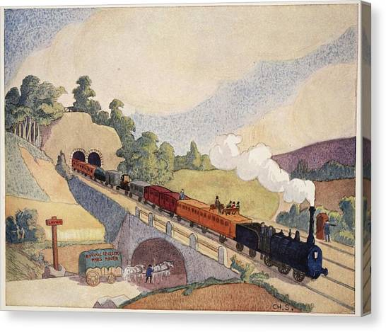 Train Canvas Print - The First Paris To Rouen Railway, Copy by French School
