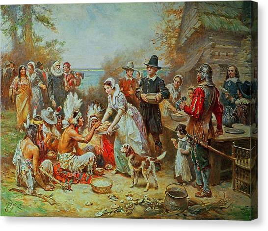 Pilgrims Canvas Print - The First Thanksgiving by Jean Leon Gerome Ferris