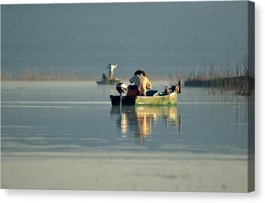 John Boats Canvas Print - The Fishermen by Treesha Duncan