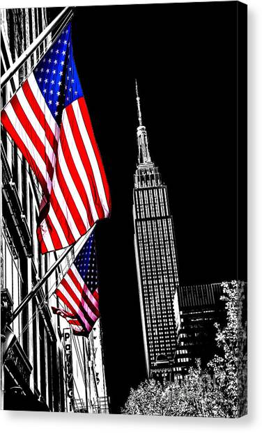 Empire State Building Canvas Print - The Flag That Built An Empire by Az Jackson