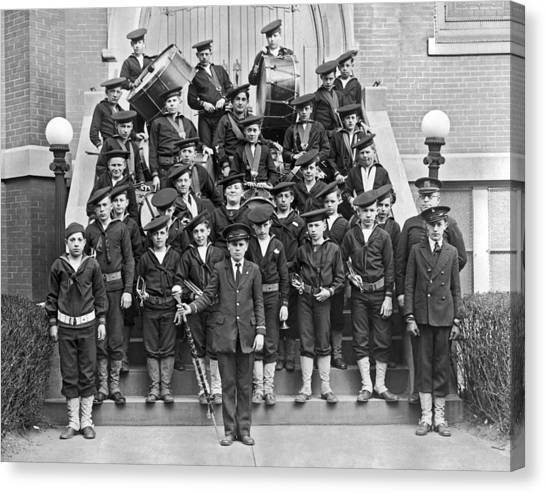 Marching Band Canvas Print - The Flatbush Boys' Club Band by Underwood Archives
