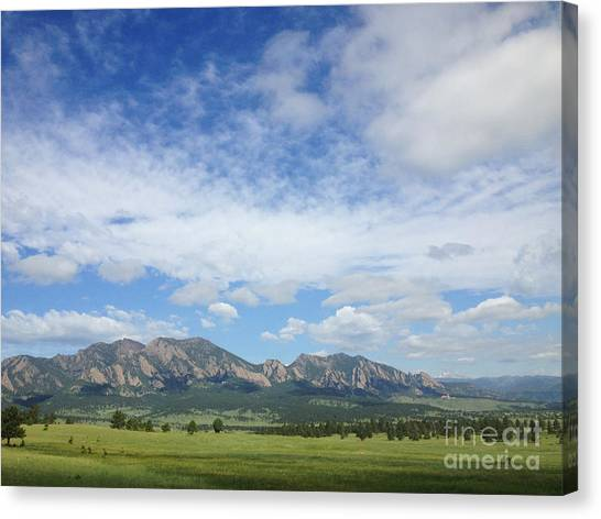 The Flatirons In Spring Canvas Print