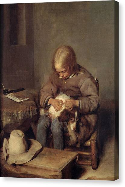 Fleas Canvas Print - The Flea-catcher Boy With His Dog C.1655 Oil On Canvas by Gerard ter Borch or Terborch