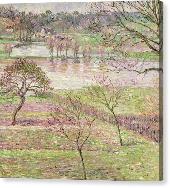 Impressionist Canvas Print - The Flood At Eragny by Camille Pissarro