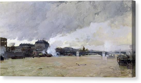 Flood Canvas Print - The Flooding Of The Seine, C.1903 Oil On Canvas by Luigi Loir