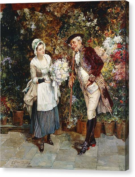 Wedding Bouquet Canvas Print - The Flower Girl by Henry Gillar Glindoni