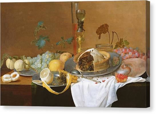 Peel Canvas Print - The Flute Of Wine  by Jan Davidsz de Heem