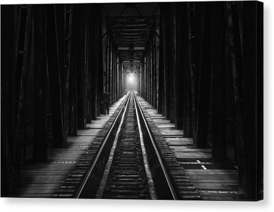 Tunnels Canvas Print - The Follower by Catalin Alexandru