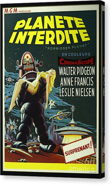 Forbidden Planet Canvas Print - The Forbidden Planet Vintage Movie Poster by Bob Christopher