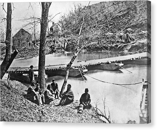 Pontoon Canvas Print - The Ford At Bull Run by Underwood Archives
