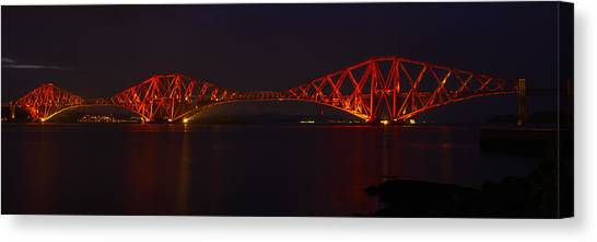The Forth Bridge By Night Canvas Print