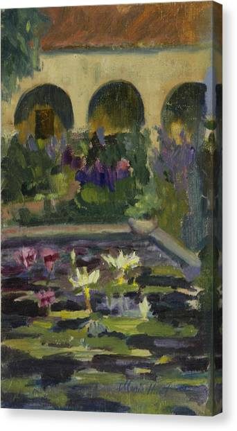 Early Christian Art Canvas Print -   Fountain At Mission San Juan Capistrano by Maria Hunt