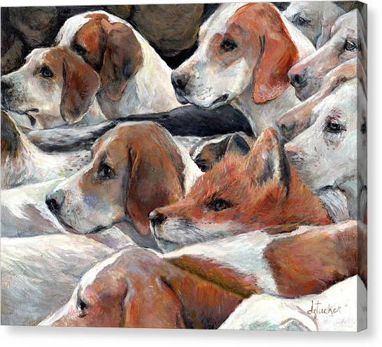 Beagles Canvas Print - Fox Play by Donna Tucker