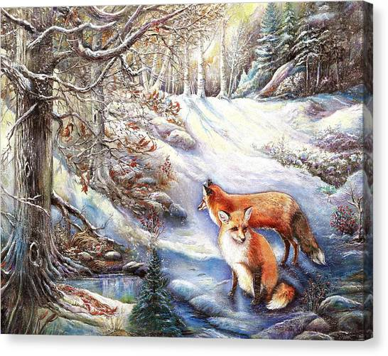 The Foxes Of Panel Mine Road Canvas Print