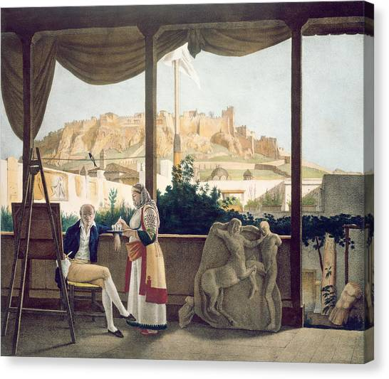 The Acropolis Canvas Print - The French Consul, Monsieur Fauvel by Louis Dupre