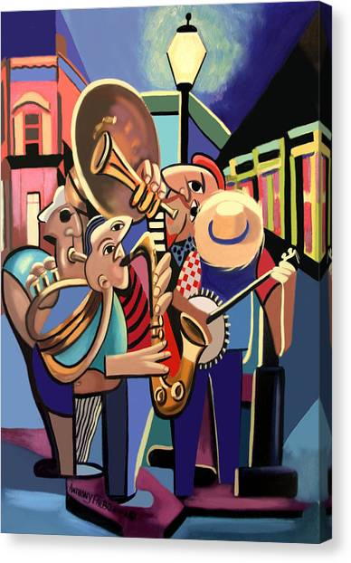 Canvas Print featuring the painting The French Quarter by Anthony Falbo