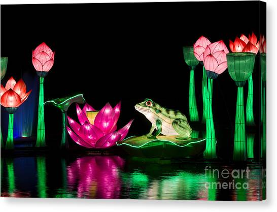 Good Luck Canvas Print - The Frog And Lotus by Tim Gainey