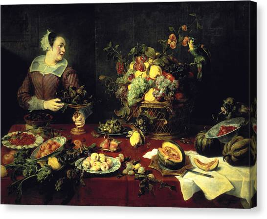 Artichoke Canvas Print - The Fruit Bowl Oil On Canvas by Frans Snyders or Snijders