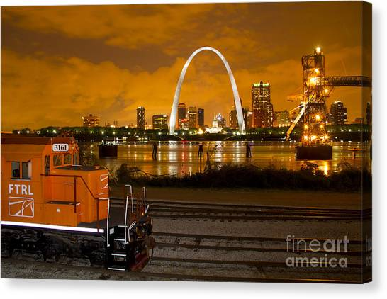 The Ftrl Railway With St Louis In The Background Canvas Print