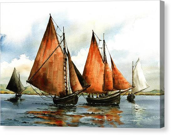 Galway Hooker Canvas Print - The Galway Hookers by Val Byrne