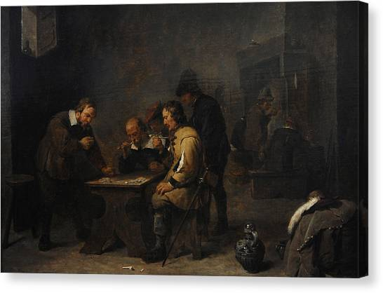 Rijksmuseum Canvas Print - The Gamblers, C. 1640, By David Teniers The Younger 1610-1690 by Bridgeman Images