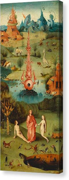 The Prado Canvas Print - The Garden Of Earthly Delights - Left Wing by Hieronymus Bosch