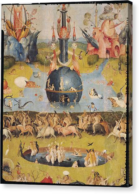 Jardin Canvas Print - The Garden Of Earthly Delights Allegory Of Luxury, Detail Of The Central Panel, C.1500 Oil On Panel by Hieronymus Bosch