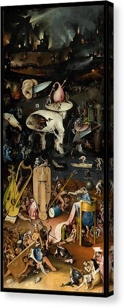 Canvas Print featuring the painting The Garden Of Earthly Delights. Right Panel by Hieronymus Bosch