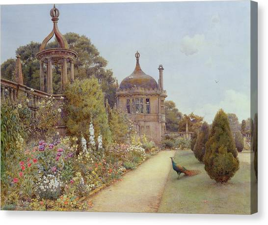 Border Wall Canvas Print - The Gardens At Montacute In Somerset by Ernest Arthur Rowe
