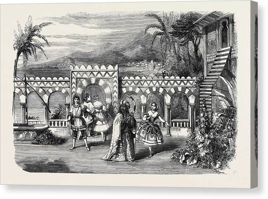 Garden Scene Canvas Print - The Gardens Of The Palace Of The Dey Of Algiers A Scene by English School
