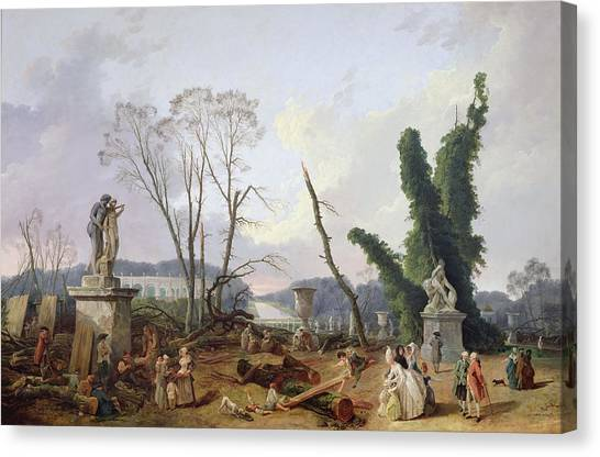 Saws Canvas Print - The Gardens Of Versailles Oil On Canvas by Hubert Robert